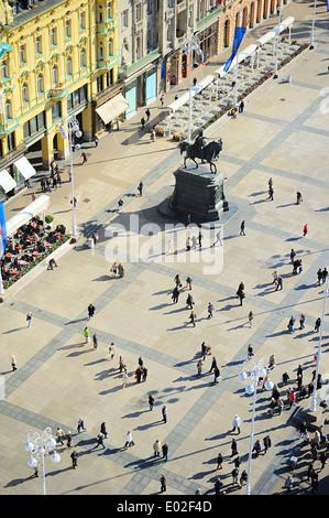 Aerial view of Ban Jelacic Square in Zagreb , Croatia - Stock Photo