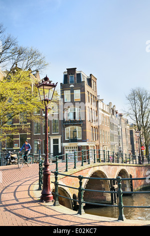 Prinsengracht in Amsterdam's Jordaan district, Noord Holland, Netherlands - Stock Photo