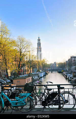 View down Prinsengracht towards the tower of Westerkerk, Jordaan, Amsterdam, Netherlands - Stock Photo