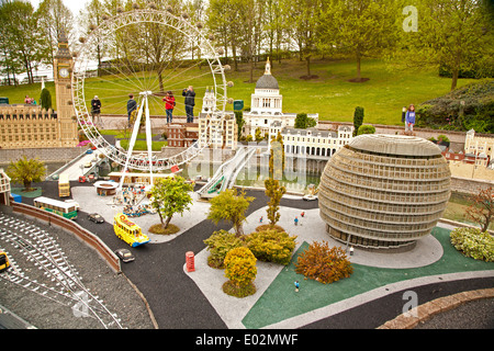 UK, Windsor, Legoland, a family leisure park; section of the park showing London Eye and City Hall. - Stock Photo