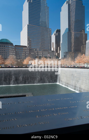 9/11 ground zero memorial site for the world trade towers, New York, USA - Stock Photo