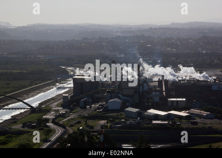 DURBAN, SOUTH AFRICA - APRIL 28, 2014: Late afternoon aerial view of the Mondi paper mill at Meerebank in Durban - Stock Photo