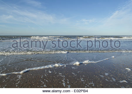 View on the North Sea from a beach in the Netherlands. - Stock Photo