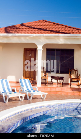infinity swimming pool at resort cabanas Big Corn Island Nicaragua Central America - Stock Photo