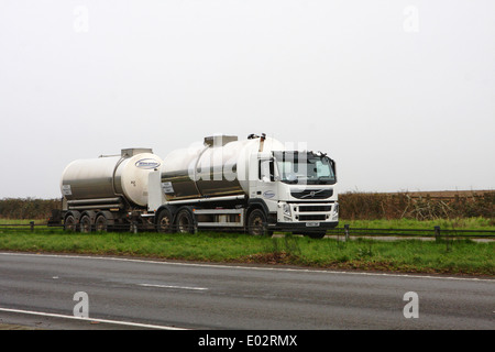 A Wincanton tanker traveling along the A417 dual carriageway in The Cotswolds, England - Stock Photo