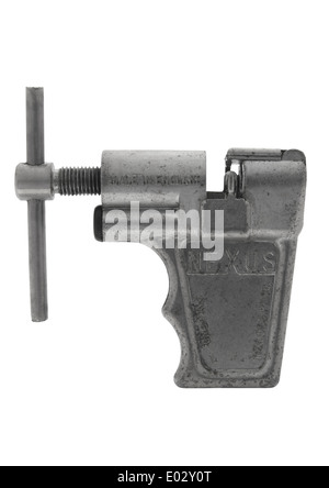 Old bicycle chain tool on white background - Stock Photo