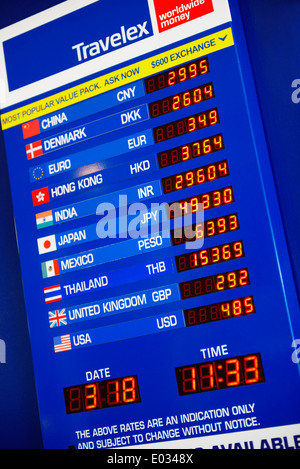 Currence exchange board Travelex at Toronto Pearson international airport - Stock Photo