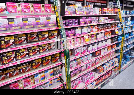 Blue ray disks data storage on shelves of a large electronics store Yodobashi Camera, Yodobashi-Akiba in Akihabara, - Stock Photo
