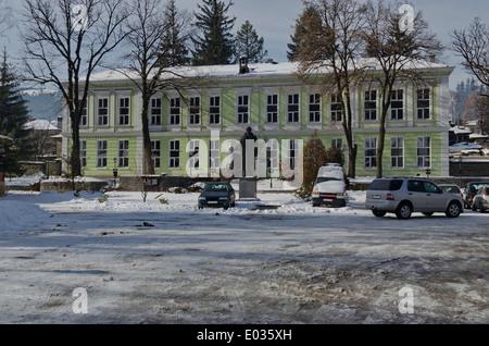 Old scool building in small mountain town Koprivshtitsa, Bulgaria - Stock Photo