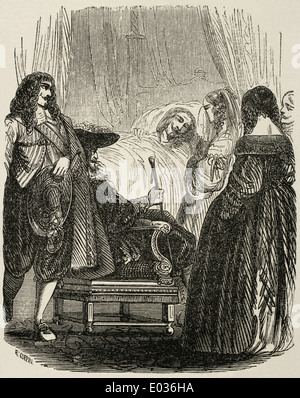 Louis XIII (1601-1643). King of France. Death of Louis XIII. Engraving by E. Coppin. Universal Library, 1951. - Stock Photo