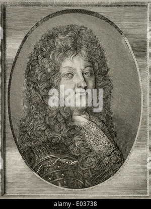 Louis XIV (1638-1715). King of France. Engraving. History of France, 1883. - Stock Photo