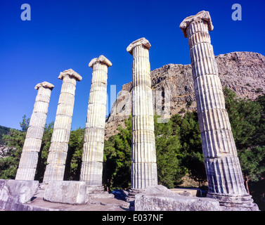 the Temple of Athena at ancient Priene Turkey - Stock Photo