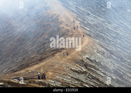 Landscape of Kawah Ijen – crater rim (Banyuwangi Regency, East Java, Indonesia) - Stock Photo