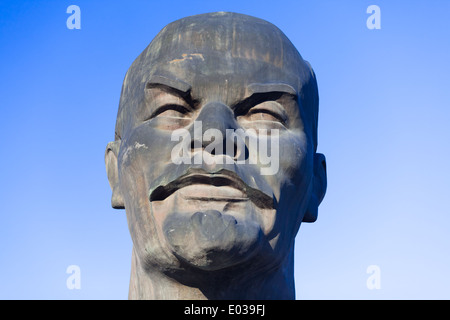 The largest monument of head of Lenin on the world, Ulan-Ude, Buryatia, Russia - Stock Photo