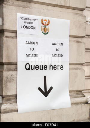 London, UK . 30th Apr, 2014. 30 April 2014 is the date on which expat voters may vote in the South African General - Stock Photo