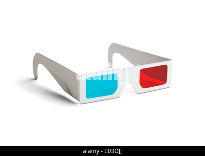 Side view of a pair of 3D glasses Isolated on white background. - Stock Photo