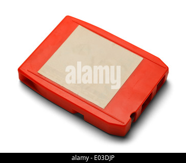 Old Eight Track Cassette With Copy Space Isolated on White Background. - Stock Photo