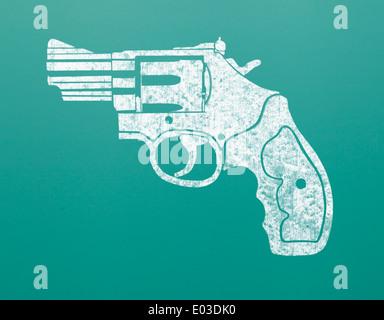 Drawing of Hand Gun on Green Chalk Board. - Stock Photo