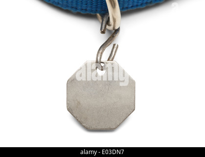 Blank Pet Dog Tag and Collar Isolated on White Background. - Stock Photo