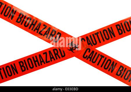 Orange and Black Caution Biohazard Tape. Isolated on White Background. - Stock Photo