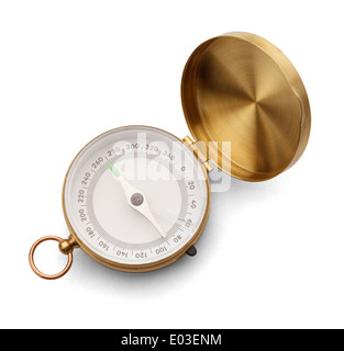 Brass Compass with Copy Space Isolated on a White Background. - Stock Photo