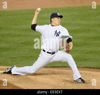 Bronx, New York, USA. 27th Apr, 2014. Masahiro Tanaka (Yankees) MLB : Masahiro Tanaka of the New York Yankees pitches - Stock Photo