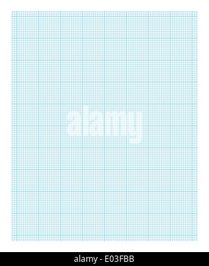 Blue and White Lined Graph Paper Isolated on White Background. - Stock Photo