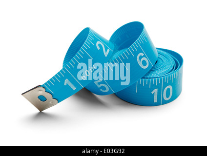 Sewing Tape Measure rolled up and Isolated on White Background. - Stock Photo