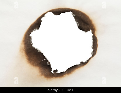 Piece of Paper with Burnt Hole in Circle Shape with White Background. - Stock Photo