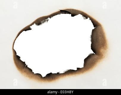 Piece of Paper with Burnt Hole in Oval Shape with White Background. - Stock Photo