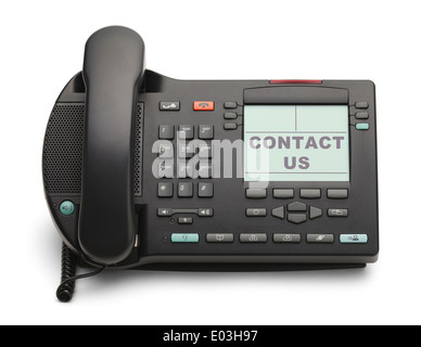 Black Office Phone With Contact Us Isolated on White Background. - Stock Photo