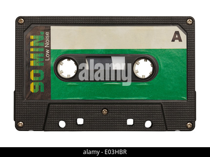 Blank Retro Music Tape Isolated on White Background. - Stock Photo