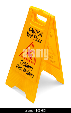 Yellow Plastic Caution Wet Floor Sign isolated on a white background. - Stock Photo