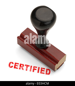 Wooden Handle Stamper with Red Certified Stamp Isolated on White Background. - Stock Photo