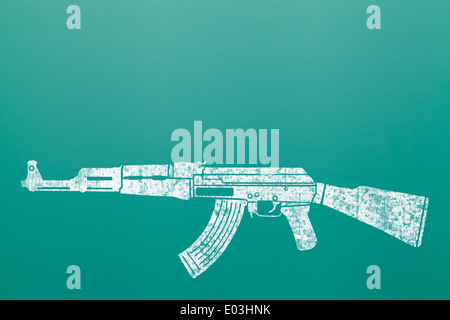 Ak 47 Machine Gun Assault Rifle Draw on Green Chalk Board. - Stock Photo