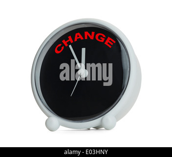 Time to Change Clock Isolated on White Background. - Stock Photo