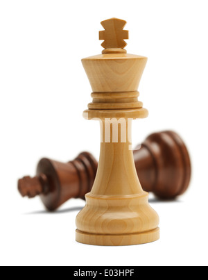 Two Chess Pieces in Battle Isolated on White Background. - Stock Photo