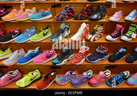 69b203d72 ... Colorful men s athletic shoes for sale at a sporting goods store at  Roosevelt Field in Long