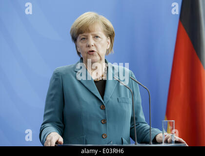 Berlin, Germany. 30th Apr, 2014. Berlin, Germany. April 30th, 2014.Shinzo Abe, Prime Minister of Japan, and German Chancellor Angela Merkel gives a joint press conference at Chancellery in Berlin./Picture: German Chancellor Angela Merkel. © Reynaldo Paganelli/NurPhoto/ZUMAPRESS.com/Alamy Live News