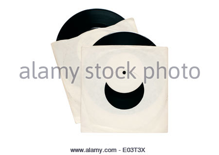 vinyl single record discs in plain sleeves on white with path - Stock Photo