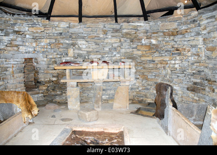 Skara Brae neolithic settlement, Bay of Skaill, Mainland, Orkney. Interior of reconstructed dwelling. - Stock Photo