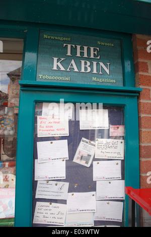 Fictional adverts in the Kabin corner shop on the set of Coronation Street,UK's longest running TV soap opera - Stock Photo