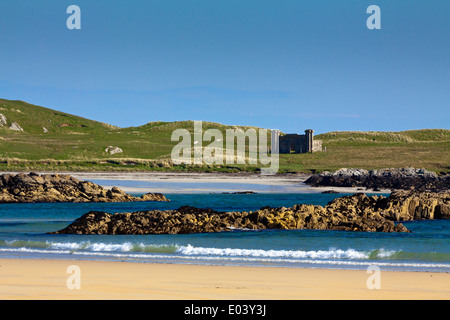 Crossapol Beach on the Island of Coll in the Inner Hebrides Argyll and Bute Scotland UK with rockpools and sand - Stock Photo