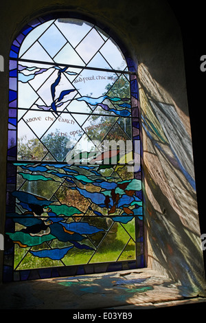 Stained glass window in All Saints Church church at Bryher, Isles of Scilly, Scillies, Cornwall in April - Stock Photo