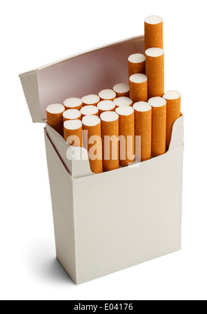 Pack of Cigarettes With Copy Space Isolated on White Background. - Stock Photo
