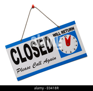 Hanging door sign that says closed and is isolated on a white background. - Stock Photo