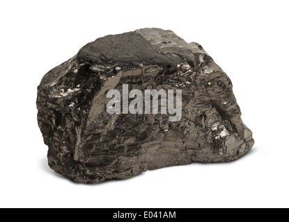 Single Piece of Black Coal Isolated on White Background. - Stock Photo