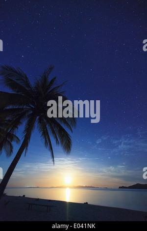 Philippines, Palawan, Daracoton Island, Milky Way and Beach - Stock Photo