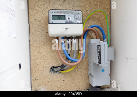 A domestic electricity meter housed in an external box, Scotland, UK - Stock Photo