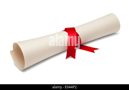 Diploma tied with red ribbon on a white isolated background. - Stock Photo